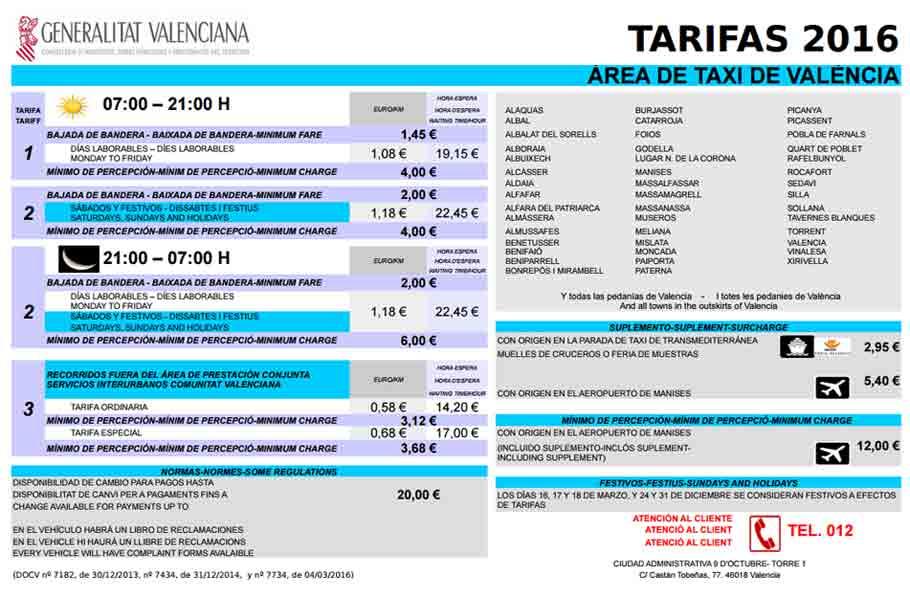 Tarifa taxis 2016 Valencia